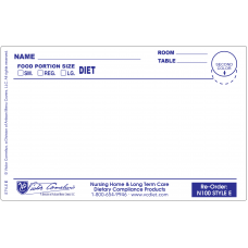 "N100E - 4-3/4"" X 3"" Plastex Dietary Tray Cards with Pre attached laminate"