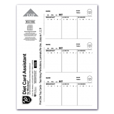 NCA100D Paper Digital Dietary Tray Card